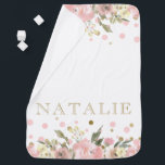 """Pink Gold Watercolor Floral Baby Girl Baby Blanket<br><div class=""""desc"""">Girl baby blanket with pink and gold watercolor floral and dot background. This watercolor baby blanket is easily customized with your text. You can also add a background color to the back.</div>"""