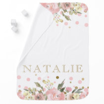 Pink Gold Watercolor Floral Baby Girl Baby Blanket