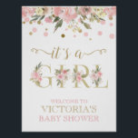 "Pink Gold Watercolor Floral Baby Shower Sign<br><div class=""desc"">Pink and gold baby shower welcome sign with pretty pink and gold watercolor words and floral dot background. This baby shower welcome sign is easily customized with your text.</div>"