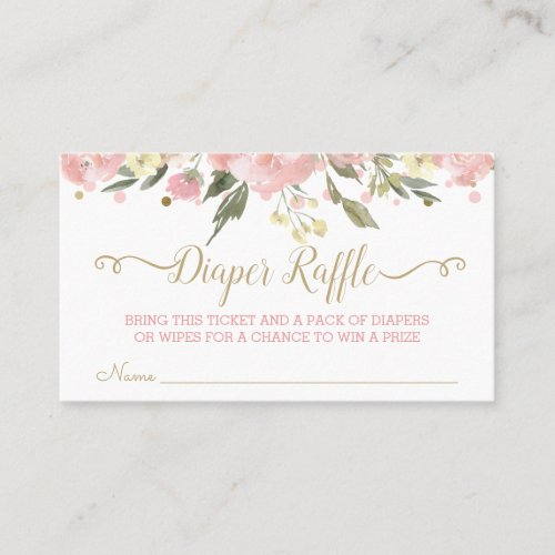 Pink Gold Watercolor Floral Diaper Raffle Tickets