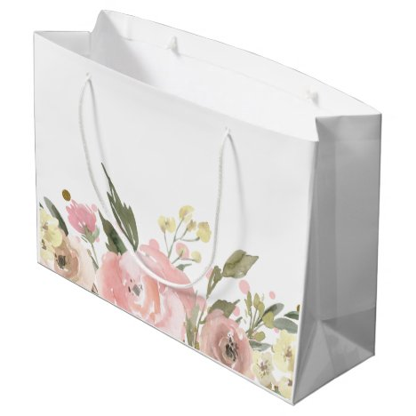 Pink Gold Watercolor Floral Large Gift Bag