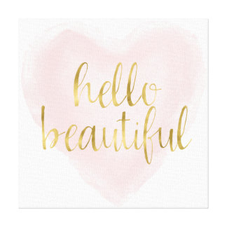 Pink Gold Watercolor Heart Hello Beautiful Canvas Print