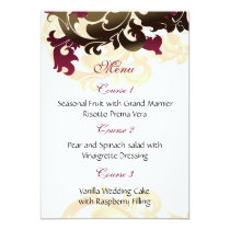 pink  gold wedding menu card