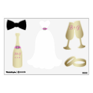 PINK GOLD WEDDING THEME WALL DECALS
