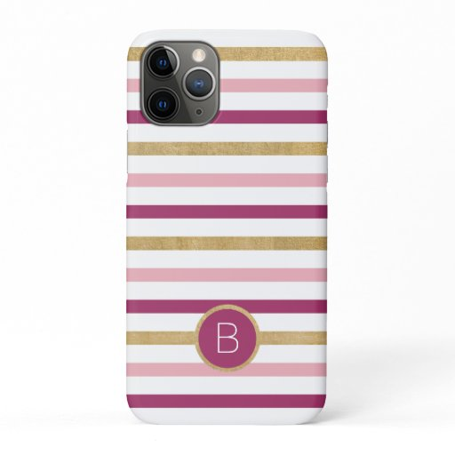 Pink Gold White Classic Stripe Monogram iPhone 11 Pro Case