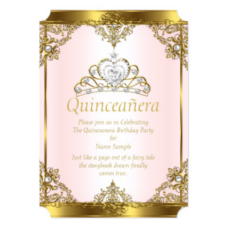 Pink Gold White Pearl Princess Quinceanera Card