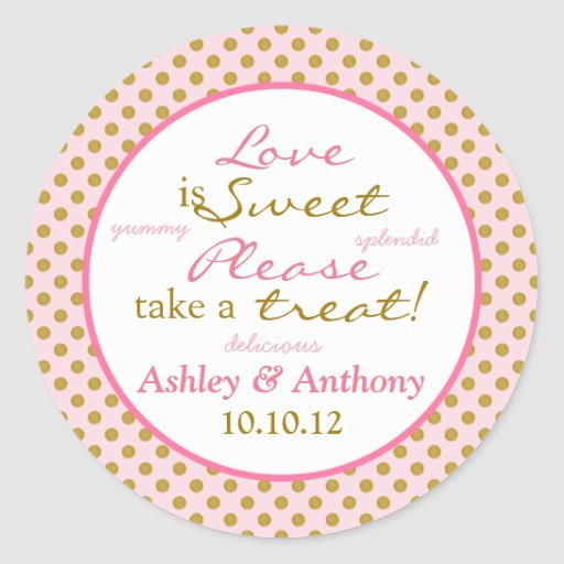 Pink Gold White Polka Dot Candy Buffet Stickers