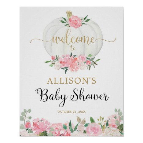 Pink gold white pumpkin baby shower welcome sign