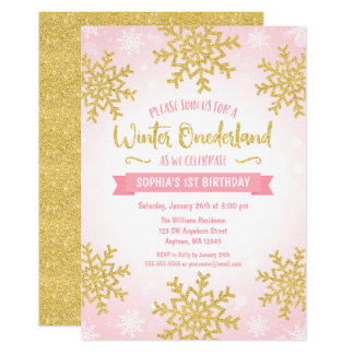 Pink Gold Winter ONEderland 1st Birthday Invite