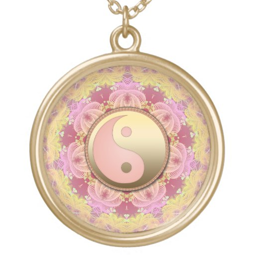 Pink Gold Yin Yang Fractal Energy Necklace