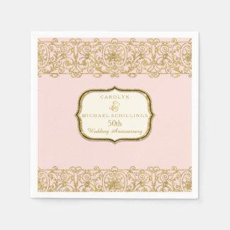 Pink Golden 50th Wedding Anniversary Celebration Paper Napkin