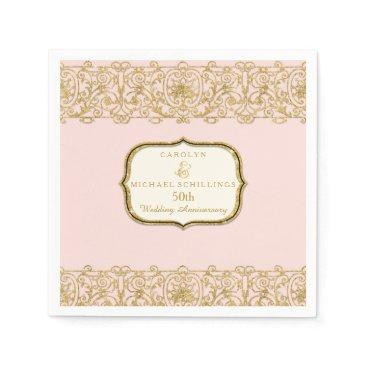 luxuryweddings Pink Golden 50th Wedding Anniversary Celebration Paper Napkin
