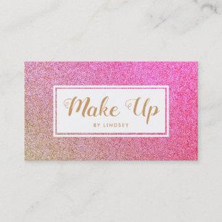 Pink Golden Gold Sparkle Glitter Make Up Artist Business Card
