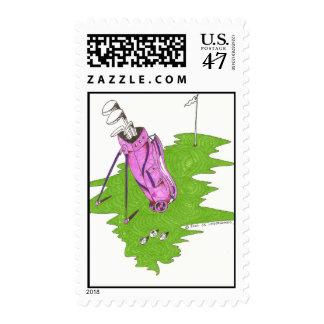 Pink Golf Bag  Postage Stamp