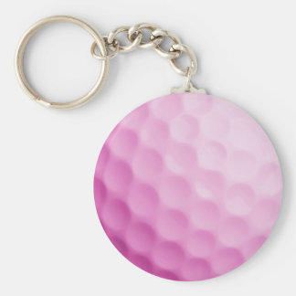Pink Golf Ball Background Golfing Sports Template Keychain