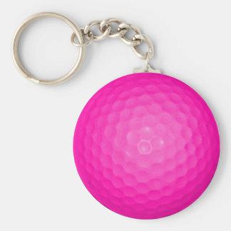 Pink Golf Ball Basic Round Button Keychain