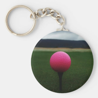Pink Golf Ball on a mountain golf course Keychain