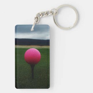 Pink Golf Ball on a mountain golf course Rectangle Acrylic Keychain