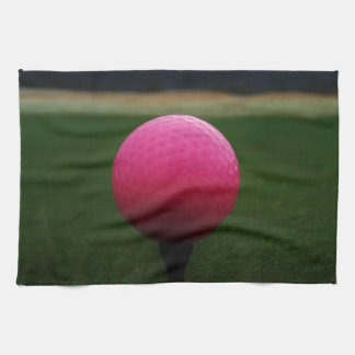 Pink Golf Ball on a mountain golf course Kitchen Towels