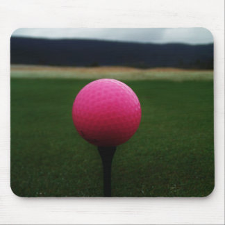 Pink Golf Ball on a mountain golf course Mouse Pad