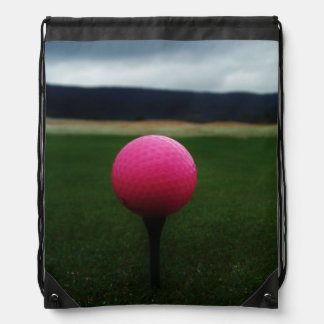 Pink Golf Ball on a mountain golf course Cinch Bags