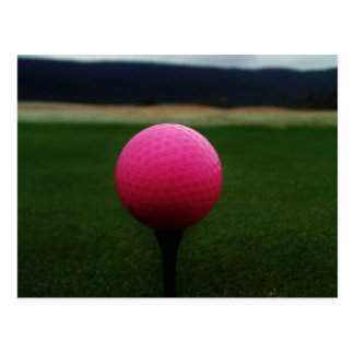 Pink Golf Ball on a mountain golf course Postcard