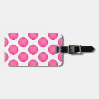 Pink Golf Ball Pattern Bag Tags