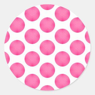 Pink Golf Ball Pattern Classic Round Sticker