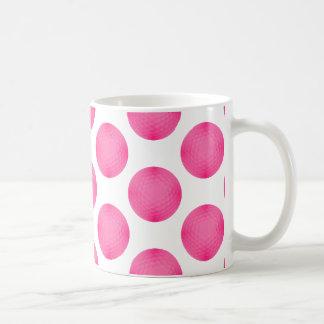 Pink Golf Ball Pattern Coffee Mugs