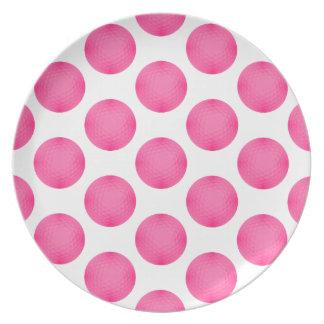 Pink Golf Ball Pattern Plate
