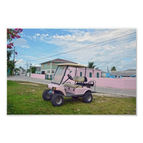 Pink Golf Cart in the Bahamas Poster