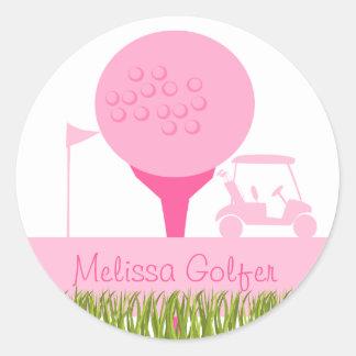 Pink Golf Date Classic Round Sticker