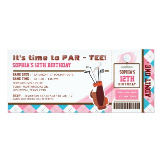 Pink Golf Ticket Pass Birthday Party Invitation