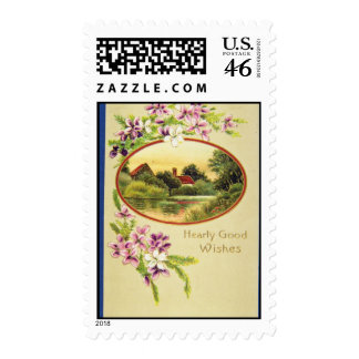 Pink Good Wishes, Davidson Bros., Pictorial Series Stamps