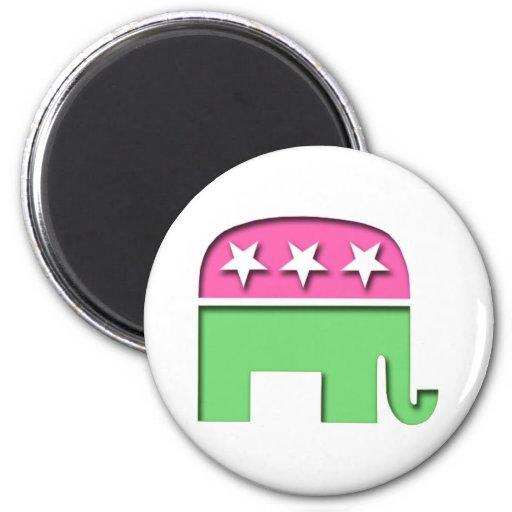 Pink GOP Elephant Fridge Magnets