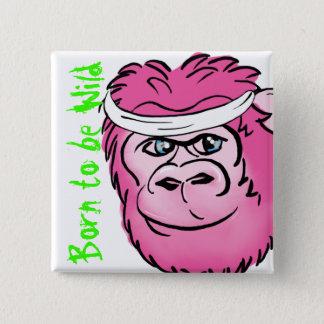 Pink Gorilla with Sweatband Pinback Button