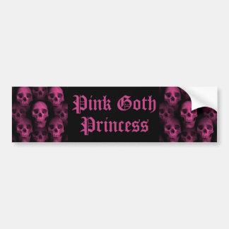 Pink goth skull bumper sticker