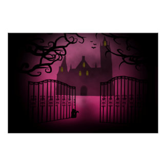Pink Gothic castle Poster