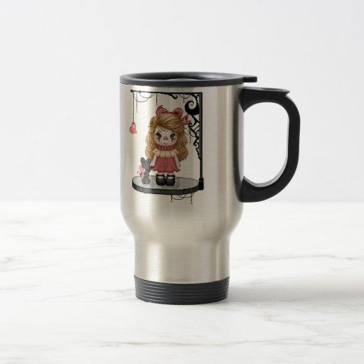 Pink Gothic Love Doll Pixel Art 15 Oz Stainless Steel Travel Mug