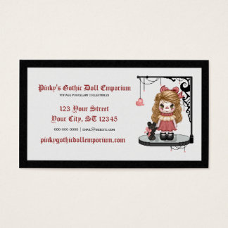 Pink Gothic Love Doll Pixel Art Business Card