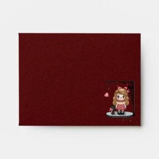 Pink Gothic Love Doll Pixel Art Envelope