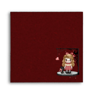 Pink Gothic Love Doll Pixel Art Envelope