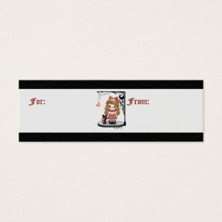Pink Gothic Love Doll Pixel Art Mini Business Card