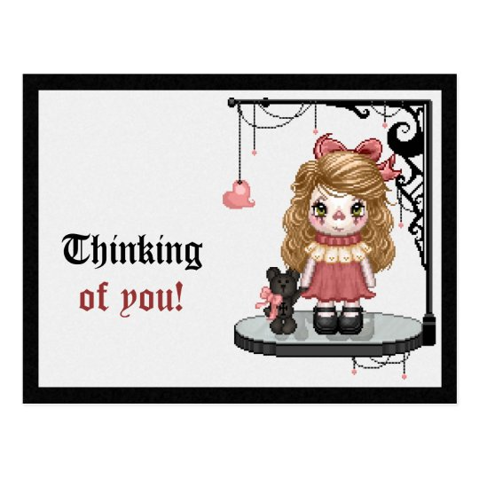Pink Gothic Love Doll Pixel Art Postcard