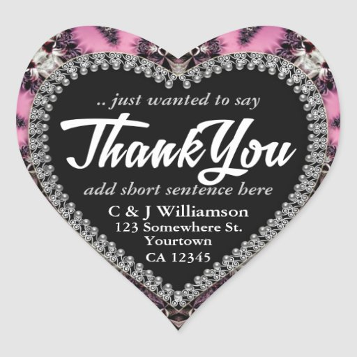 Pink Gothic Medieval Thank You Heart Stickers