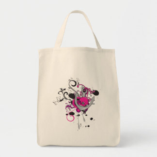 pink gothic skull and anchor vector art design grocery tote bag