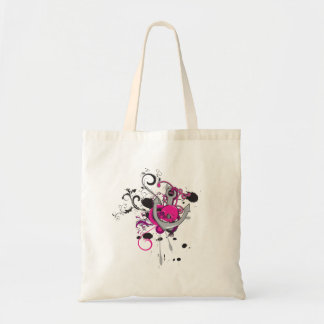 pink gothic skull and anchor vector art design budget tote bag