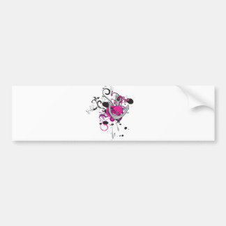 pink gothic skull and anchor vector art design car bumper sticker