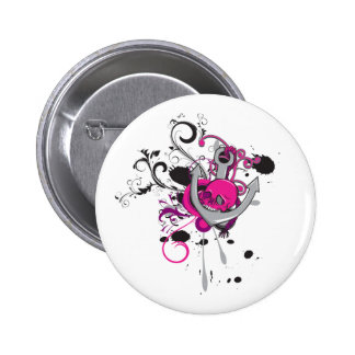pink gothic skull and anchor vector art design 2 inch round button