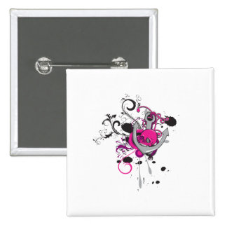 pink gothic skull and anchor vector art design 2 inch square button